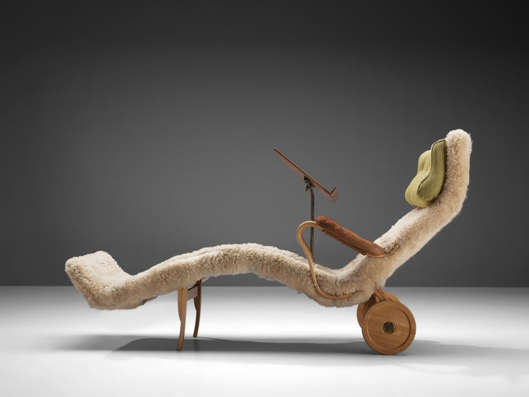 Swedish Original Bruno Mathsson 'Pernilla' Chaise Longue in Beech, Leather and Shearling For Sale