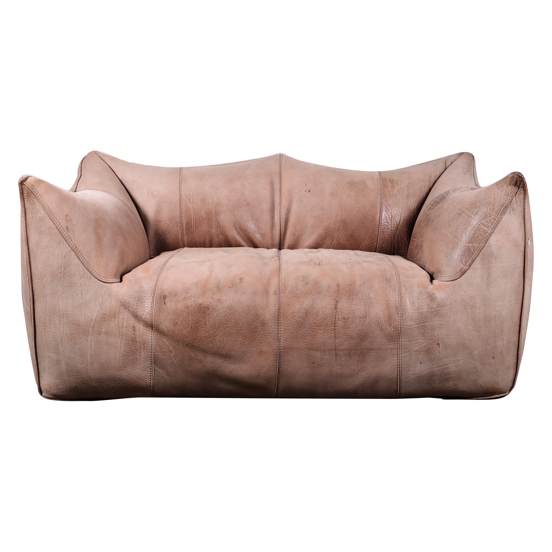 Original Buffalo Leather Bambole Loveseat Sofa by Mario Bellini for B&B Italia