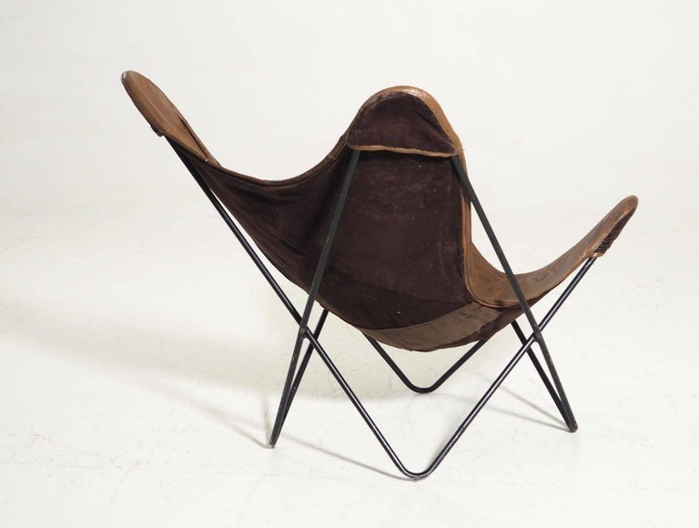 North American Original Butterfly Chair in Brown Leather and Black Steel For Sale