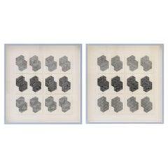 Original B&W Letterpress Prints Framed in Light Blue