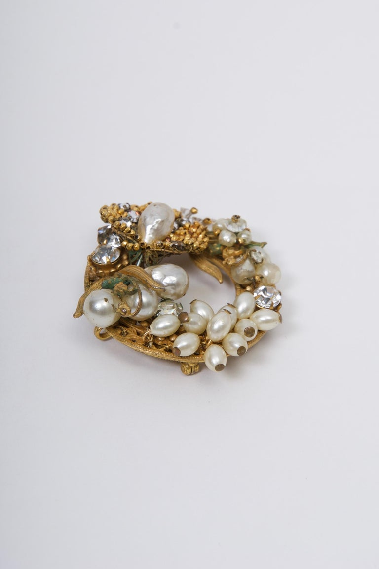 Women's or Men's Original by Robert Pearl and Rhinestone Brooch/Pendant For Sale