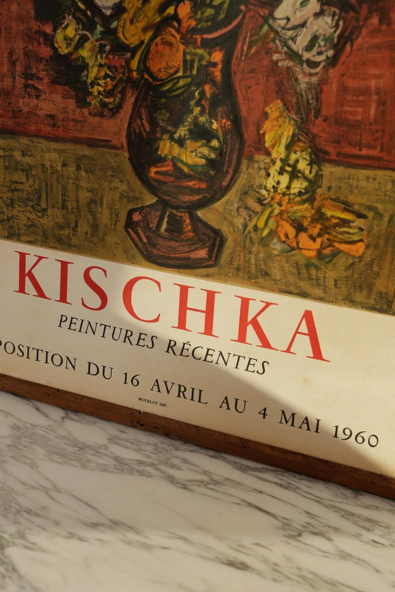 This is an original Kischka poster from 1960 Cannes printed by famous Mourlot IMP. It's in wonderful vintage condition, framed in upstate NY with reclaimed wood, and ready to hang as soon as you receive it. Free NYC curbside delivery or in-home