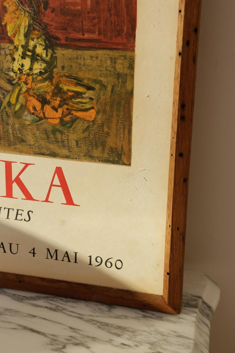 French Original Cannes 1960s Kischka Poster Framed in NY with Reclaimed Wood For Sale