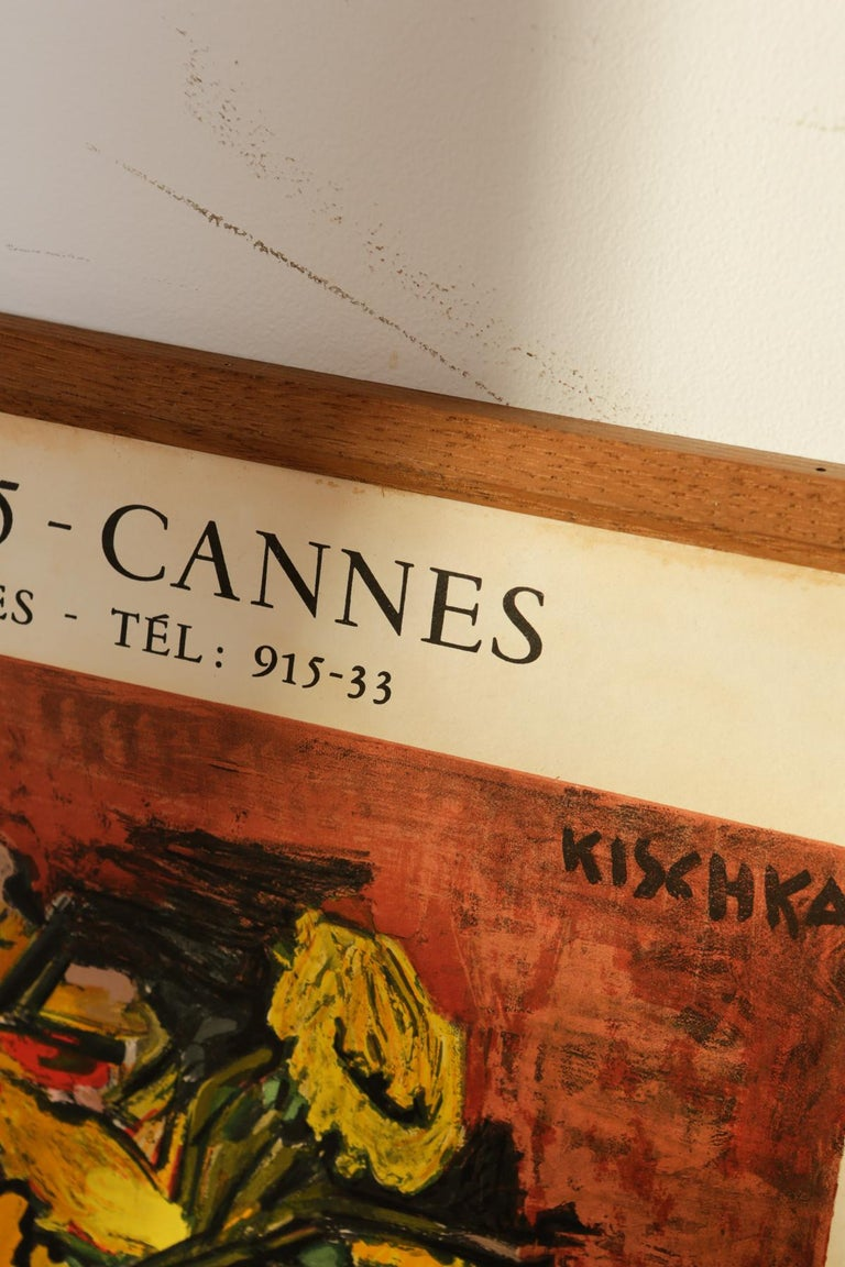 Original Cannes 1960s Kischka Poster Framed in NY with Reclaimed Wood In Good Condition For Sale In Armonk, NY