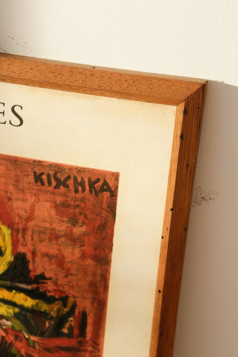 Mid-20th Century Original Cannes 1960s Kischka Poster Framed in NY with Reclaimed Wood For Sale