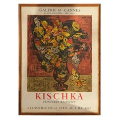 Original Cannes 1960s Kischka Poster Framed in NY with Reclaimed Wood