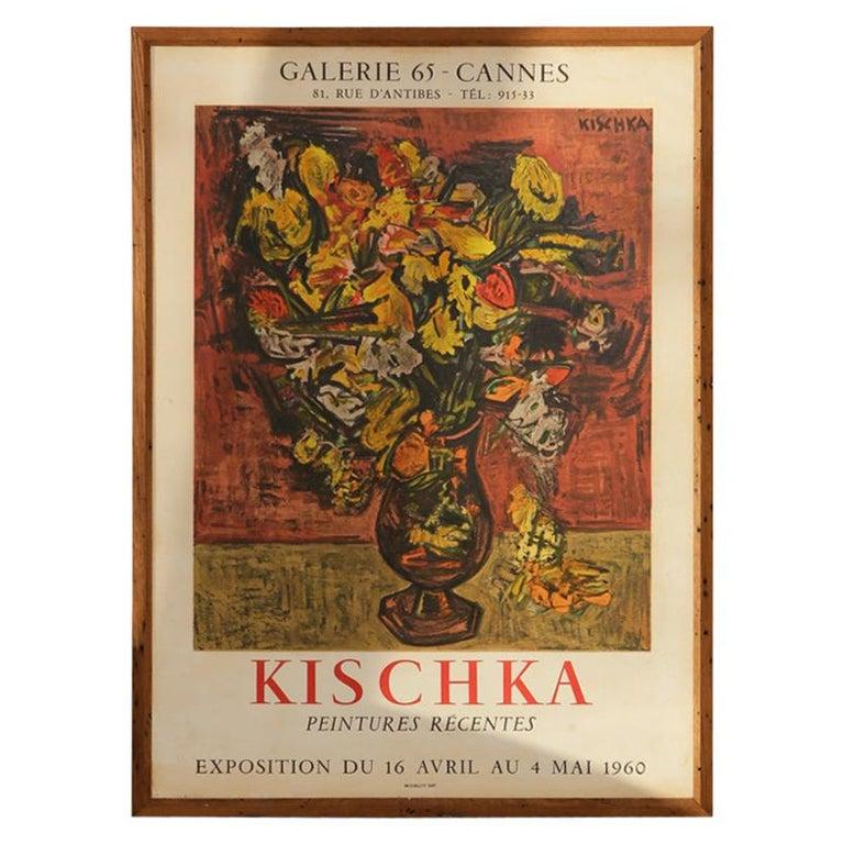 Original Cannes 1960s Kischka Poster Framed in NY with Reclaimed Wood For Sale