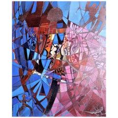 Original Carlisle Harris Modernist Abstract Acrylic Painting on Canvas Untitled