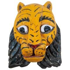 Original Carved Wooden Indian Tiger Mask, 20th Century