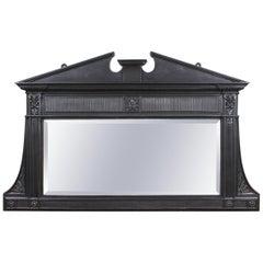 Original Cast Over Mantel Mirror with Pediment, 20th Century