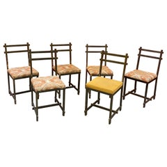 Original Chairs in Lacquered Metal, in the Style of Jacques Adnet circa 1940/195