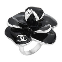 Original Chanel Black Onyx and Sterling Silver Ring