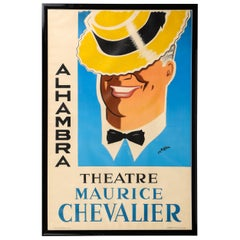 Original Charles Kiffer Lithograph of Alhambra Theatre Maurice Chevalier