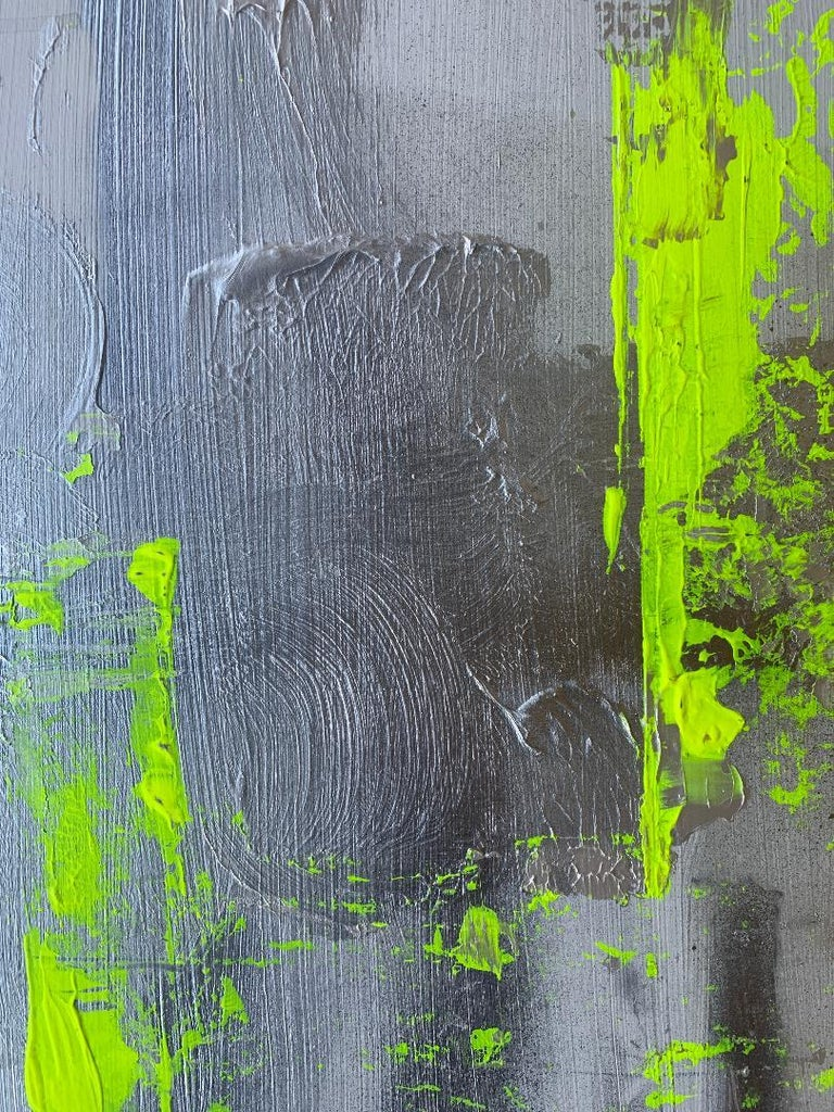 """Hand-Painted Original """"Chartreuse Verseau"""" Modern Abstract Painting by Artist Chanel Verdult For Sale"""