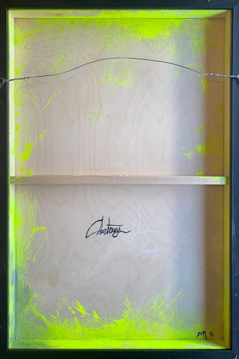 """Contemporary Original """"Chartreuse Verseau"""" Modern Abstract Painting by Artist Chanel Verdult For Sale"""
