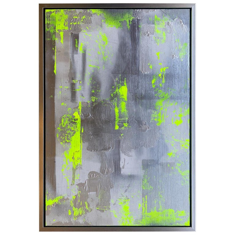 """Original """"Chartreuse Verseau"""" Modern Abstract Painting by Artist Chanel Verdult For Sale"""