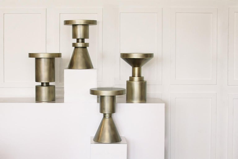 Plated Original Chess Stool, Shape A by Anna Karlin For Sale