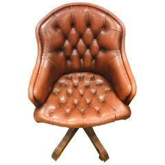Original Chesterfield Brown Leather Directors Captains Chair, Brand Wade