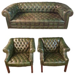 Original Chesterfield Set Big Sofa and 2 Armchairs in Faded Green from 1978