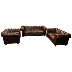 Original Chesterfield Set Vintage Brown Three and Two-Seat and Armchair