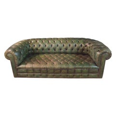 Original Chesterfield Sofa Faded Green from 1978 High Quality
