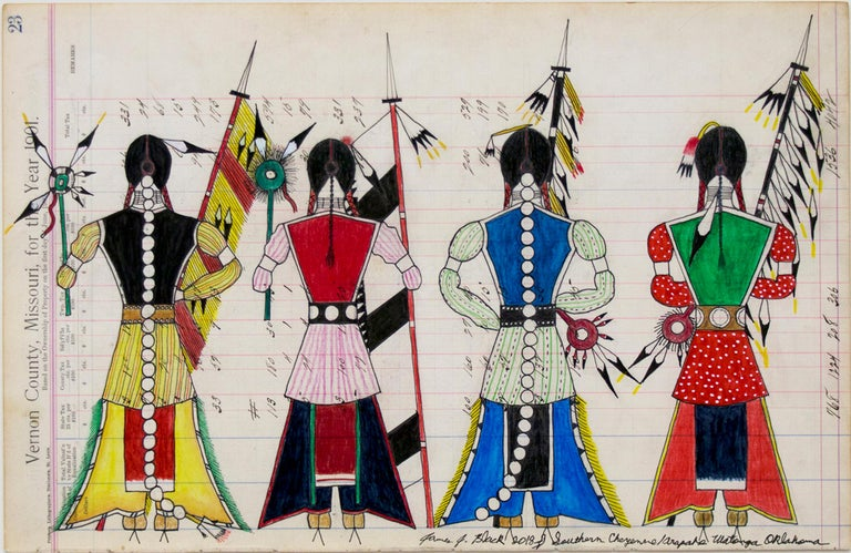 Original James black mixed media traditional style ledger drawing depicting Initiation Day for the Cheyenne Bowstring Society. Oil based colored pencil and ink on antique paper (part of a ledger marked