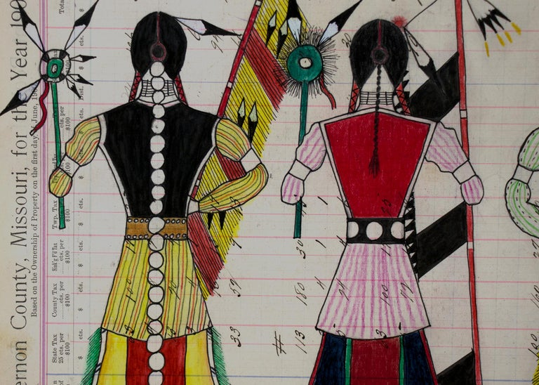 American Original Cheyenne Ledger Drawing