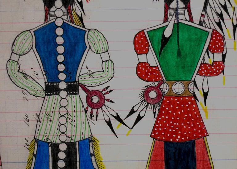 Hand-Painted Original Cheyenne Ledger Drawing