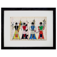 "Original Cheyenne Ledger Drawing ""Initiation Day - Cheyenne Bowstring Society"""
