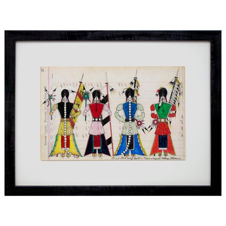 "Original Cheyenne Ledger Drawing ""Initiation Day - Cheyenne Bowstring Society"" For Sale"