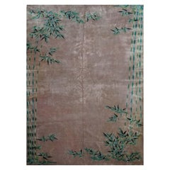"Original Chinese Rug in Silky Wool, Light Pink, ""Bambou"", Finest Quality"