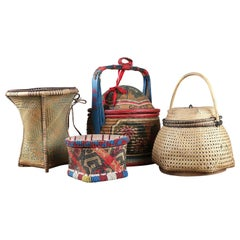 Original Chinese Woven Wicker Baskets, 20th Century