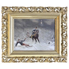 Original Christian Sell Oil Painting on Panel of Soldiers in Battle
