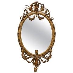 Original circa 1800 Gold Gilt Frame Girandole Mirror Carved Cherub Putti Angel