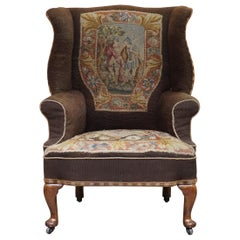 Original circa 1840 Antique Victorian Wingback Armchair Embroidered Upholstery
