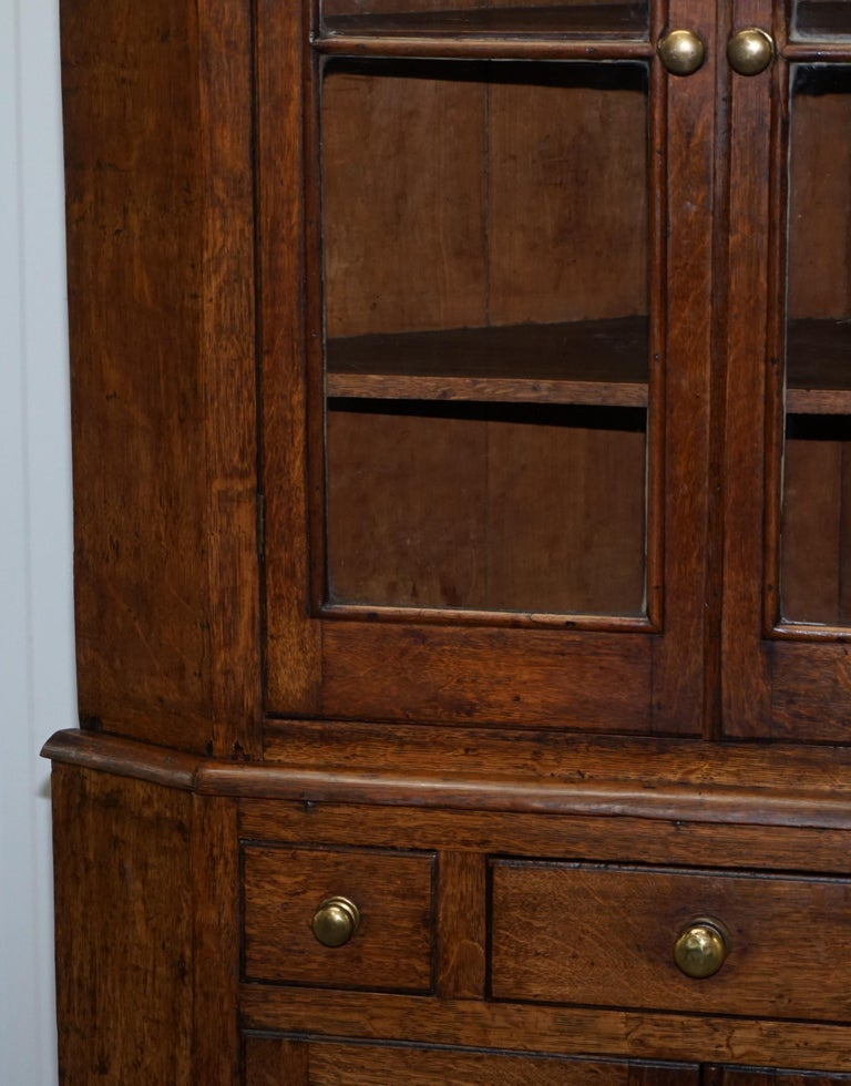 Original circa 1840 Victorian Honey Oak Corner Cupboard Bookcase Brass Handles For Sale 3