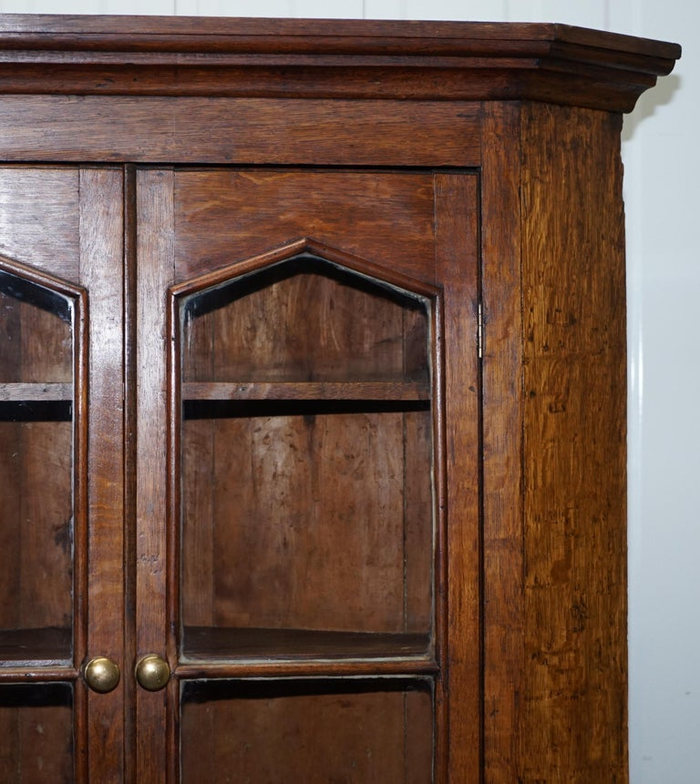 Original circa 1840 Victorian Honey Oak Corner Cupboard Bookcase Brass Handles For Sale 4