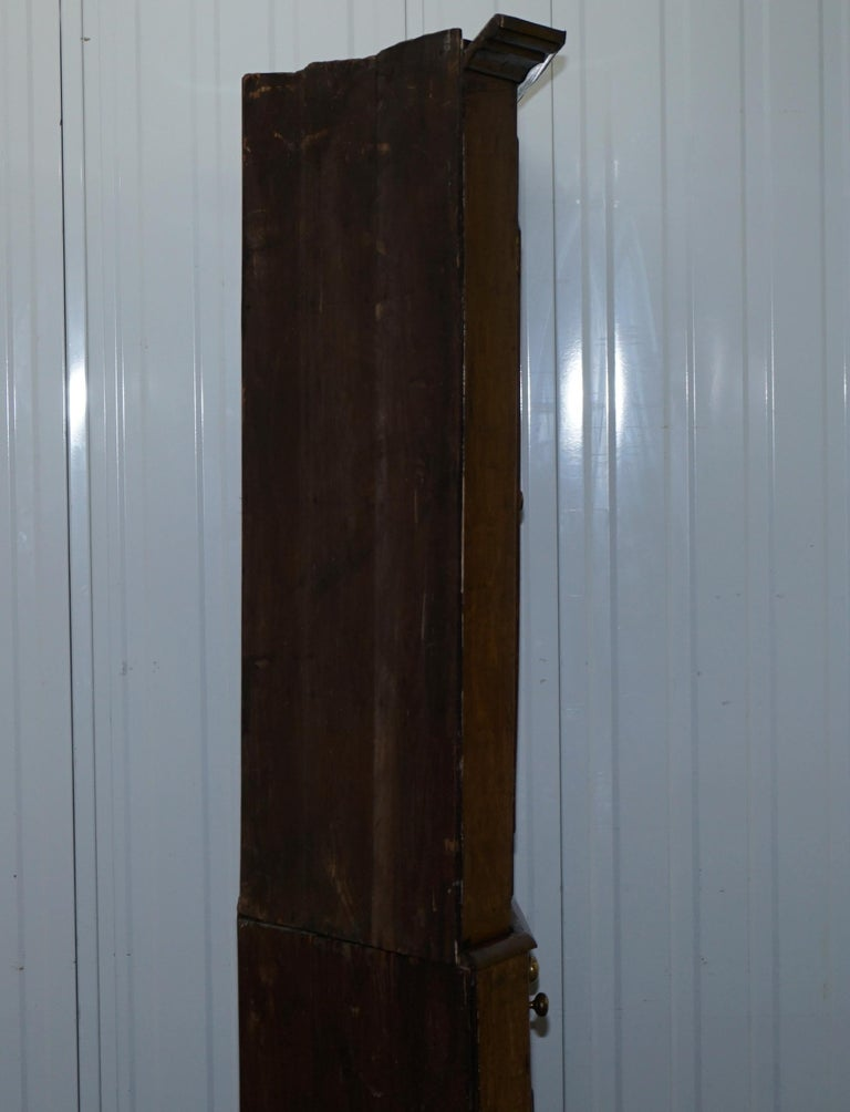 Original circa 1840 Victorian Honey Oak Corner Cupboard Bookcase Brass Handles For Sale 7