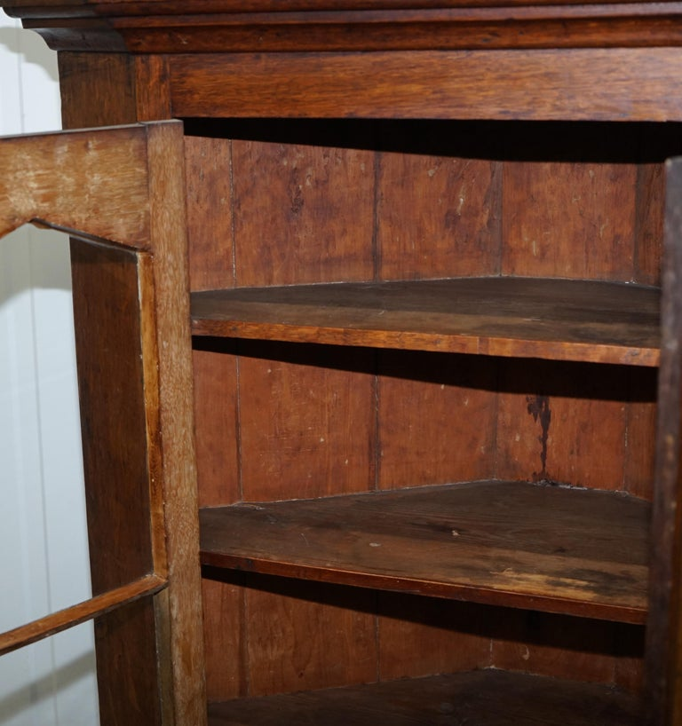 Original circa 1840 Victorian Honey Oak Corner Cupboard Bookcase Brass Handles For Sale 10