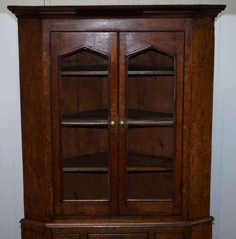 Original circa 1840 Victorian Honey Oak Corner Cupboard Bookcase Brass Handles For Sale 1