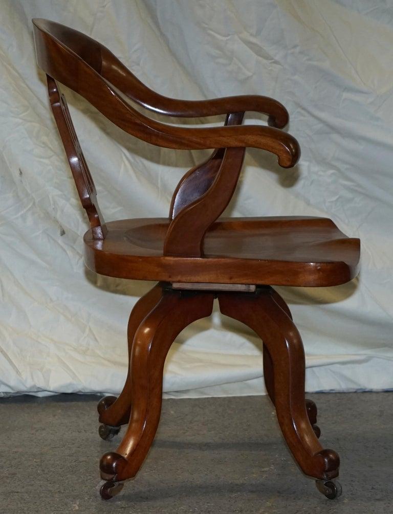 Original circa 1860 Solid Walnut Sculptural Office Captains Directors Armchair For Sale 7
