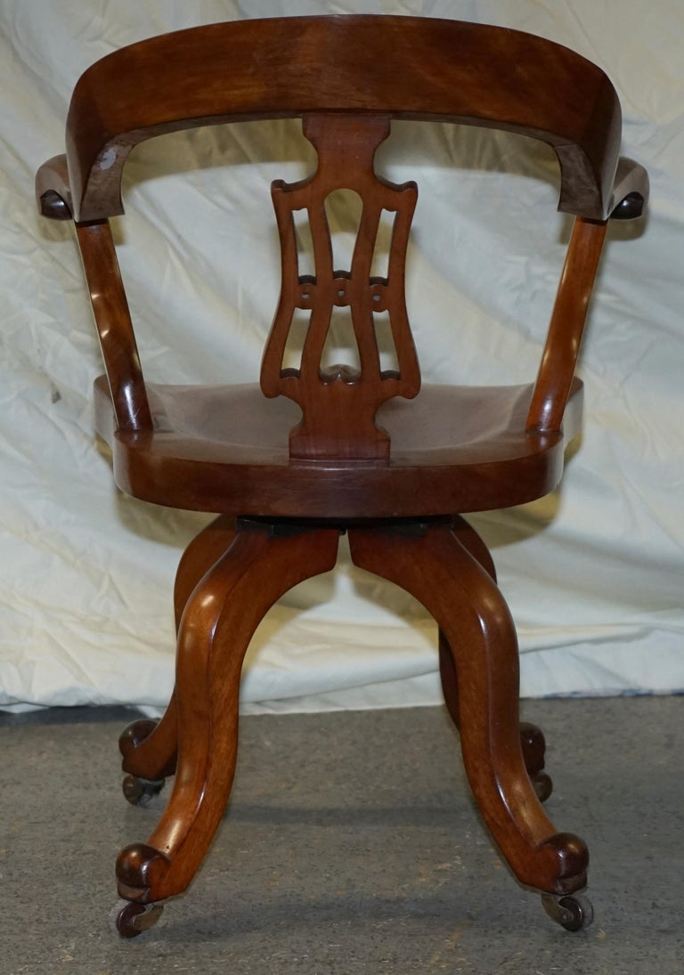 Original circa 1860 Solid Walnut Sculptural Office Captains Directors Armchair For Sale 8