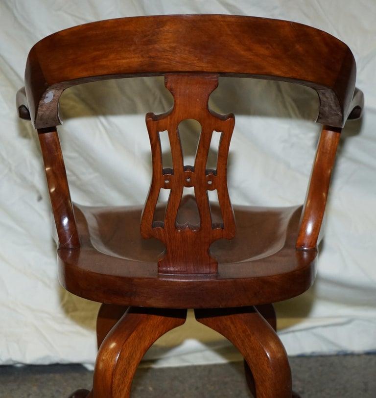 Original circa 1860 Solid Walnut Sculptural Office Captains Directors Armchair For Sale 9