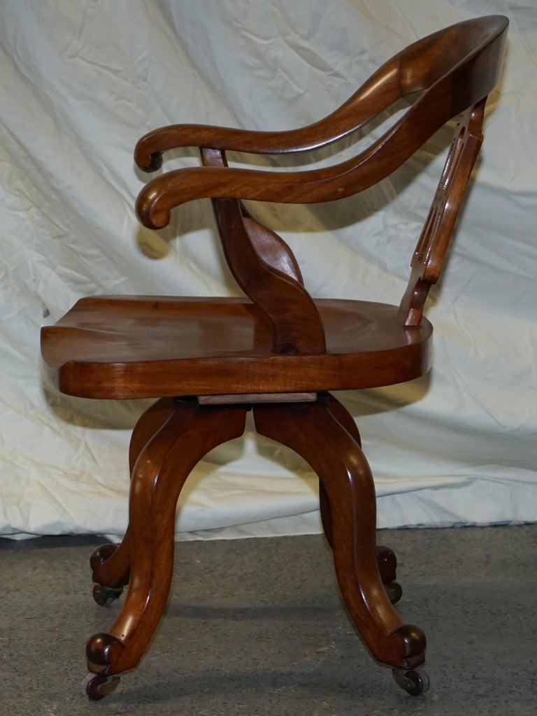 Original circa 1860 Solid Walnut Sculptural Office Captains Directors Armchair For Sale 10