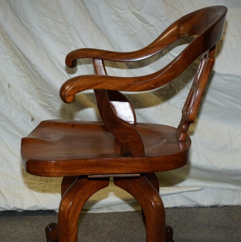 Original circa 1860 Solid Walnut Sculptural Office Captains Directors Armchair For Sale 11