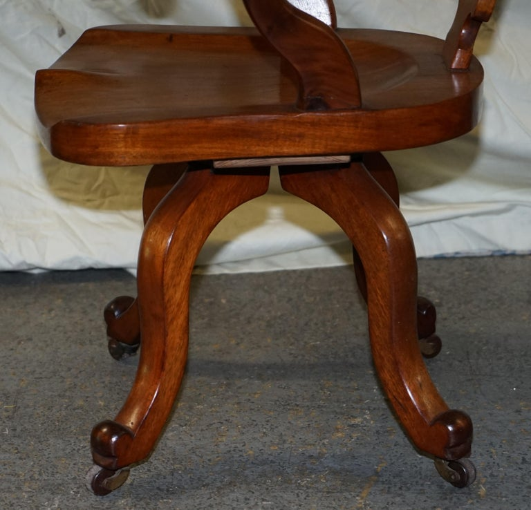 Original circa 1860 Solid Walnut Sculptural Office Captains Directors Armchair For Sale 12