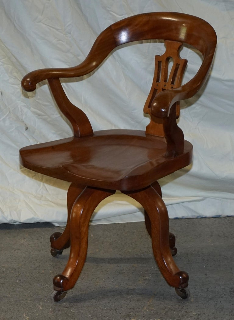 Early Victorian Original circa 1860 Solid Walnut Sculptural Office Captains Directors Armchair For Sale