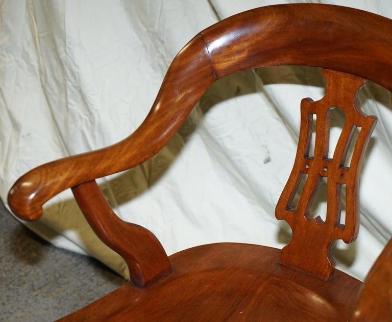 Mid-19th Century Original circa 1860 Solid Walnut Sculptural Office Captains Directors Armchair For Sale