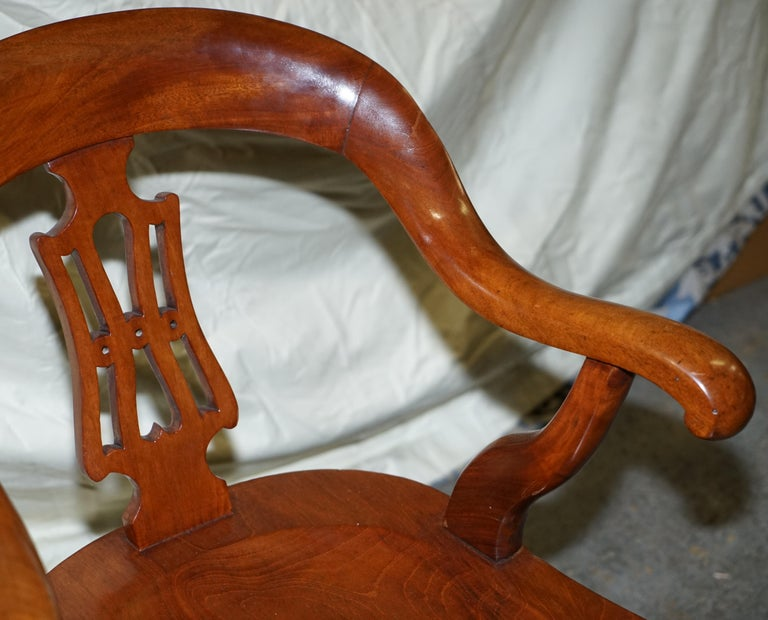 Original circa 1860 Solid Walnut Sculptural Office Captains Directors Armchair For Sale 1