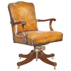 Original circa 1880 Maple & Co Restored Captains Chair Period Hillcrest Base